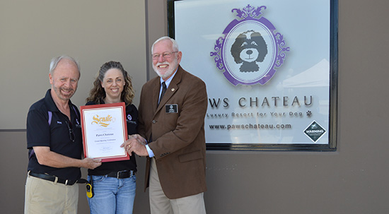 Paws Chateau Grand Opening Left to Right: Peter King, Louise McCullough, Phil Smith, Field Representative for California State Senator, Janet Nguyen